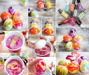 Easter egg painted with nailpolisher