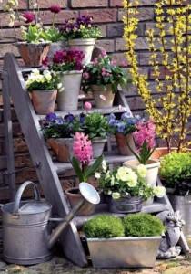 Genbrug af trappe til blomster og/eller krydderurter